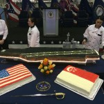 Three incredible cakes were prepared for the reception on board the USS Carl Vinson. Photo courtesy of Navy League Member, Gabriel Breeman.