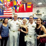 Members of the U.S. Navy League, Lorna, Lauren, and Courtney, with Chief of Staff of the USS Roosevelt, and Naval Attaché, Sean O'Connor