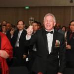 Ray Corrigan makes a toast