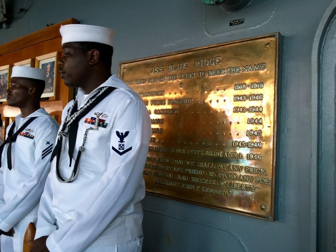 Boarding the USS Blue Ridge