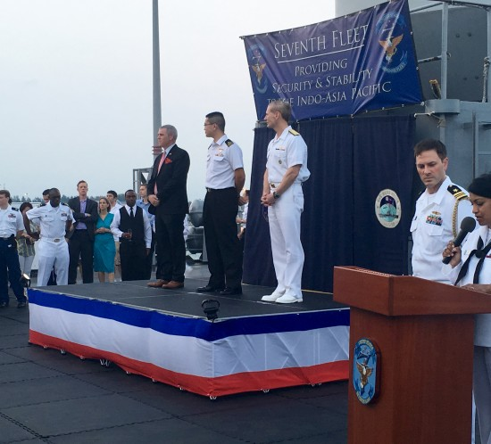 An address by U.S. Ambassador to Singapore, Kirk Wagar; Fleet Commander of the Republic of Singapore Navy, Rear Adm. Lew Chuen Hong; and Commander of the U.S. 7th Fleet, Vice Admiral Joseph Aucoin to begin the reception.