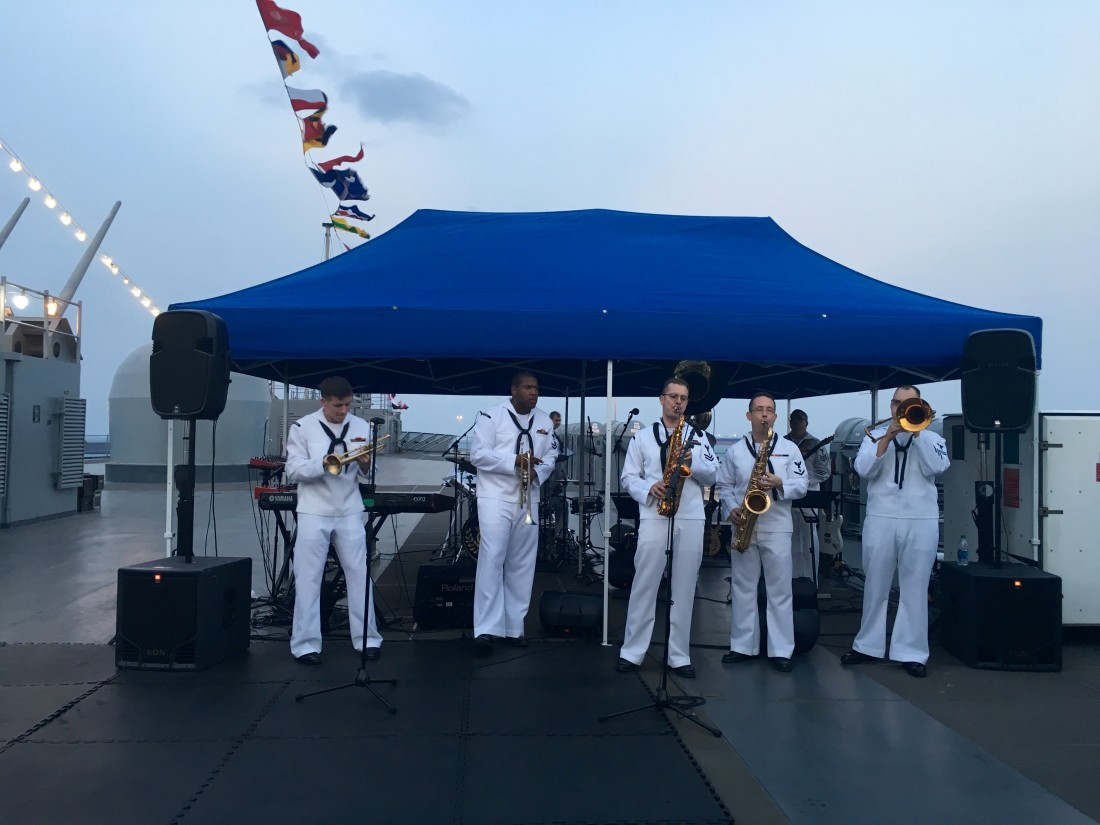 The U.S. 7th Fleet Band provided outstanding music for the reception aboard the USS Blue Ridge.