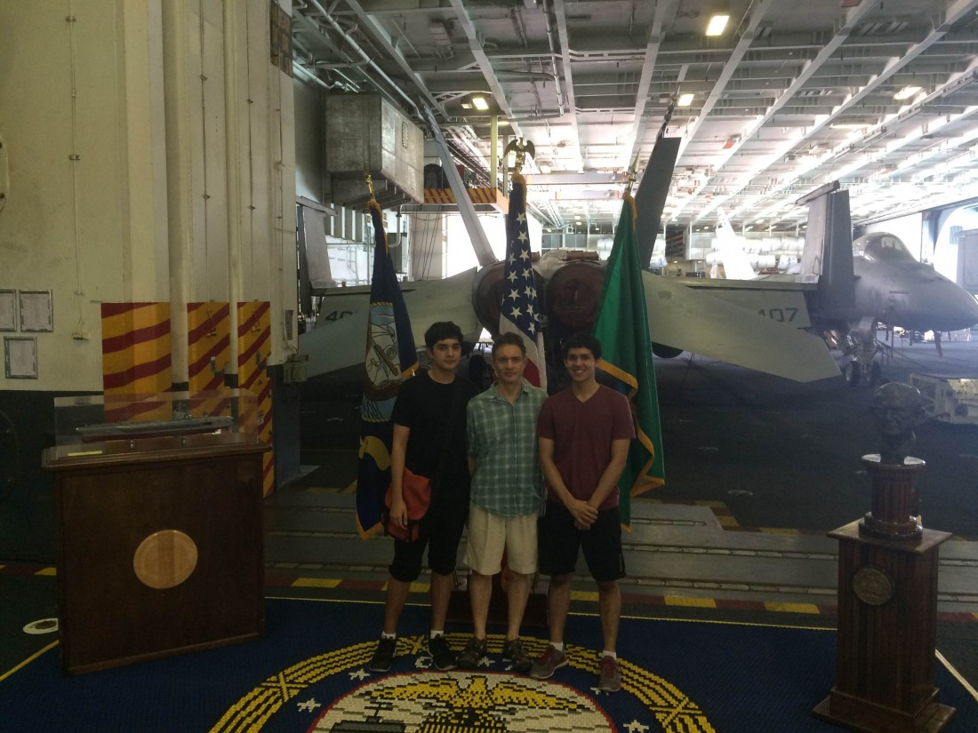 Navy Leaguers Julian, Rudy and Adrian Schalk on the USS Stennis