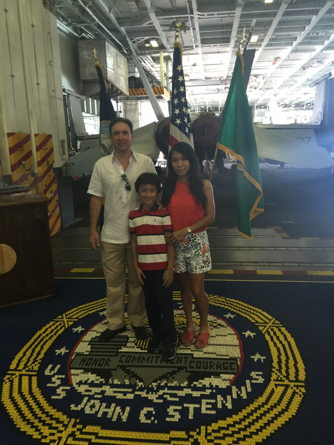 Navy Leaguers the Viverito Family on the USS Stennis